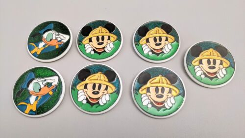 NEW Vintage Disney Mickey Mouse (Safari) & Donald Duck Buttons Pins LOT of 7