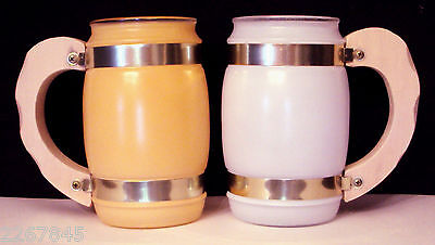 Siesta Ware Pastel Mug LOT Frosted Glass Beer Barrel White/Peach Wood Handle Cup