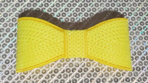 """XL 5"""" Sequin Bow embellishment for boutique crafts NEON YELLOW"""