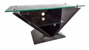TV Stand Cabinet Unit Furniture - High Gloss Black, Clear Glass Lansvale Liverpool Area Preview