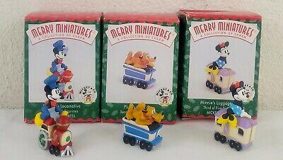 1998 Disney Hallmark Merry Miniature Mickey Express Train Set of 3 Figurines