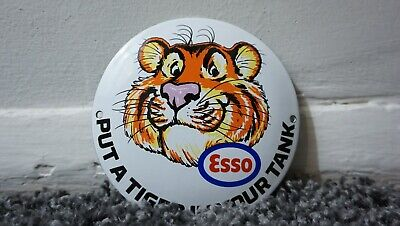 VINTAGE ESSO PORCELAIN SIGN GAS OIL METAL SERVICE STATION PUMP PLATE DROP TIGER
