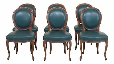 L30473EC: Set Of 6 Green Leather French Style Dining Room Chairs Antique French Dining Chairs