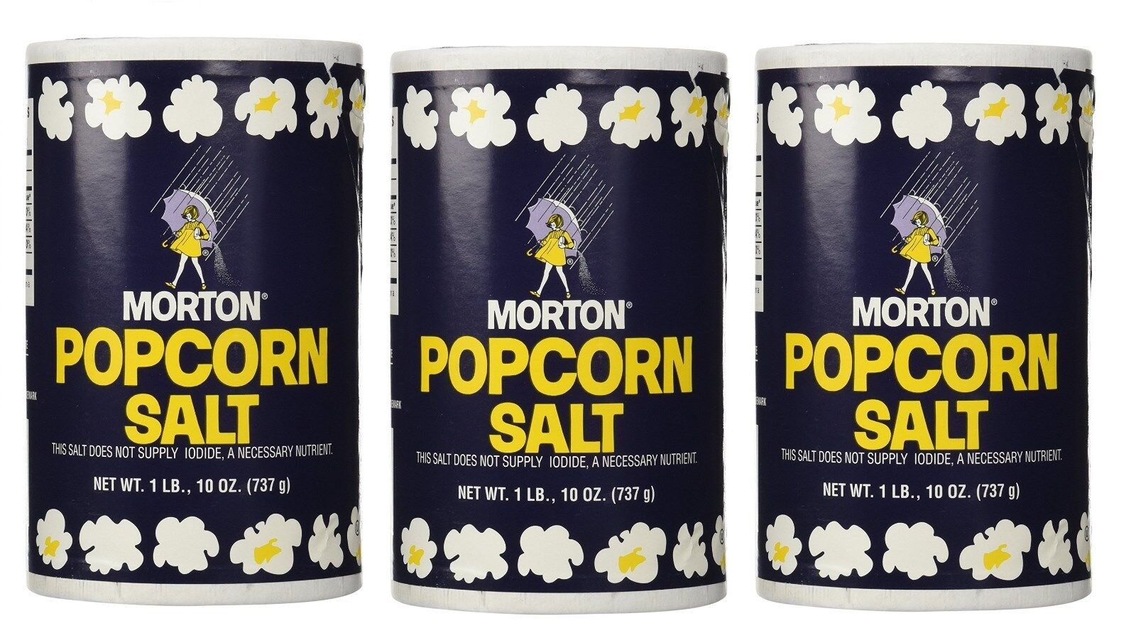 Купить Not Applicable -  3 Morton Popcorn Salt NO IODINE, 1Lb 10oz each