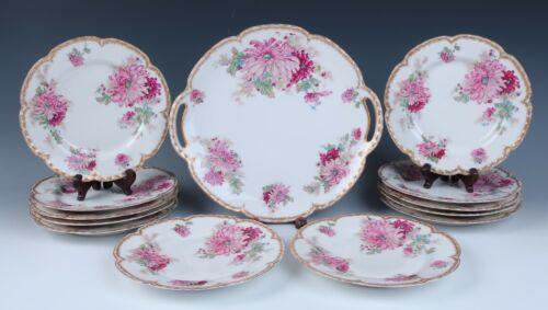Haviland Limoges 13pc Pink Chrysanthemum Dessert Set Cake Plate Platter Gold
