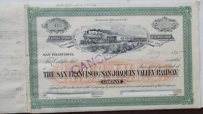 Pere Marquette Railroad 1880- Stock Certificate  issued & cancelled