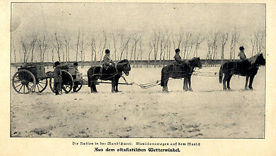 Russischer Munitionstransport mit Sibrien-Ponys in der Manschurei c.1903