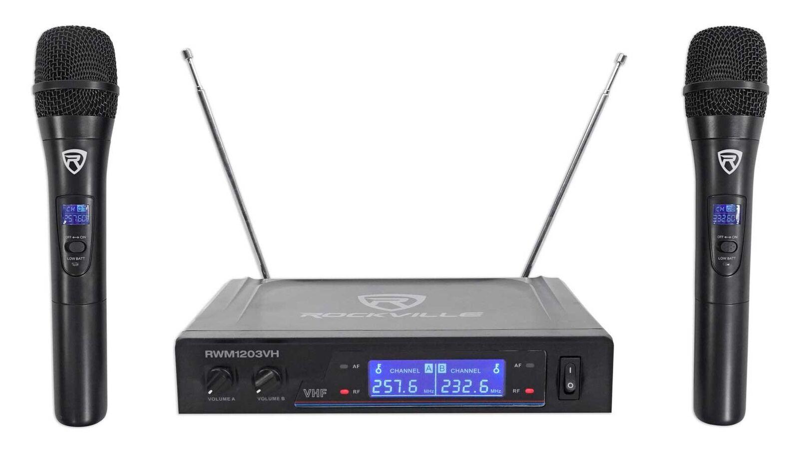 Rockville RWM1203VH VHF Wireless Dual HandHeld Microphone System/Digital Display