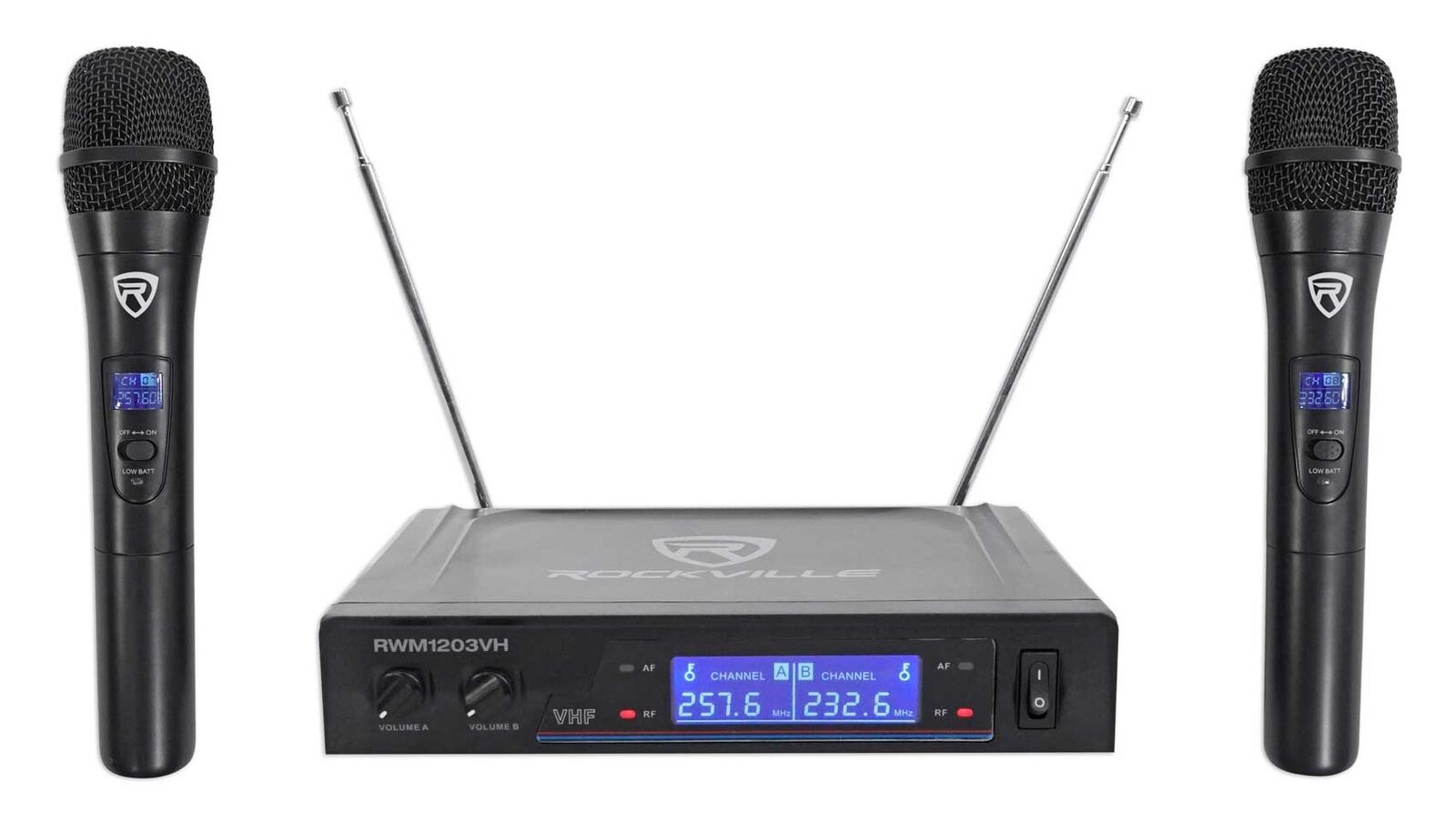 Rockville RWM1203VH VHF Wireless Dual HandHeld Microphone System/Digital Display
