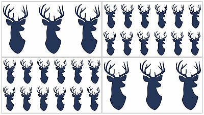Navy Blue Woodland Deer Wall Decal Stickers Art Nursery Room Decor by Sweet - Hunting Nursery Decor
