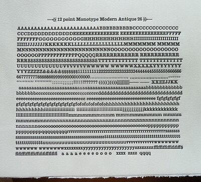 New Letterpress Type - 12pt. Modern Antique 26