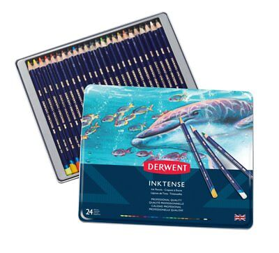 Derwent Inktense Professional Pencils 24 Tin Set Assorted Water-Soluble Colours