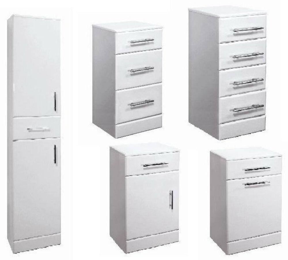 White Gloss Kitchen Cabinets Ebay: Bathroom Vanity Accessory Units White Gloss Cupboard