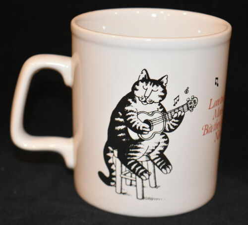 Kliban Cat Coffee Mug Tea Cup Love to Eat Them Mousies Nibble on They Tiny Feet