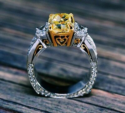 4.71TCW Natural Cushion Fancy Intense Yellow 3 Stone Half Moon Diamond Ring GIA  3
