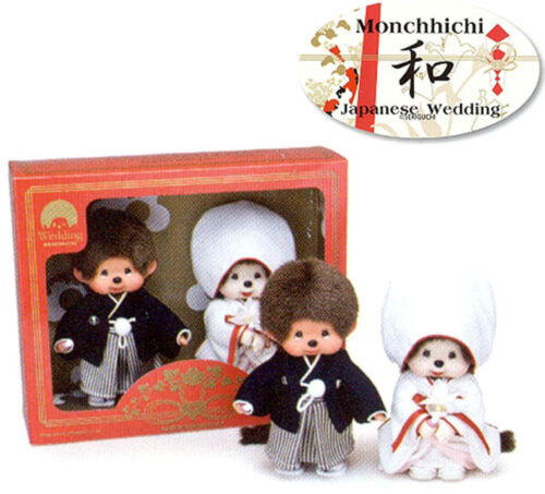 Japanese Wedding Monchhichi Japan Bride and Groom Plush Doll Sekiguchi Monchichi