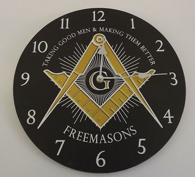 New Masonic Wall Clock Square Compass Working Tools Freemasons Black & Gold