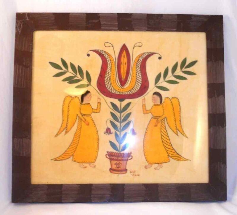 Framed Folk Art Hand Painted PA Dutch Theorem Giant Tulip & Angels By Bill Rank