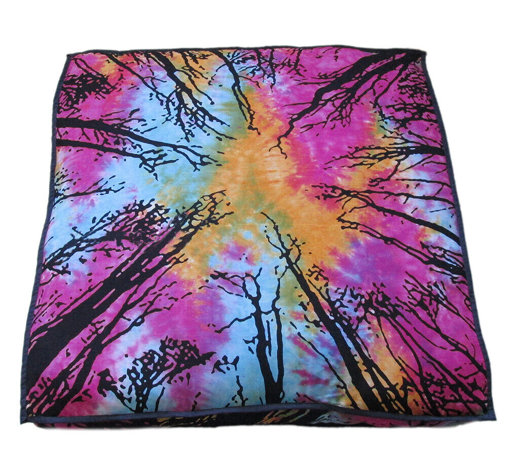 Forest Mandala Indian Big Square Floor Cushion Cover Dog Bed