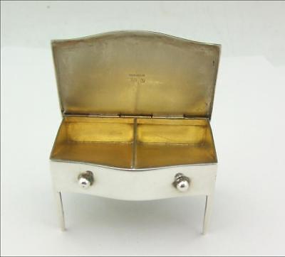ANTIQUE NOVELTY SOLID SILVER STAMP BOX HOLDER MODELLED AS A DESK / LOWBOY