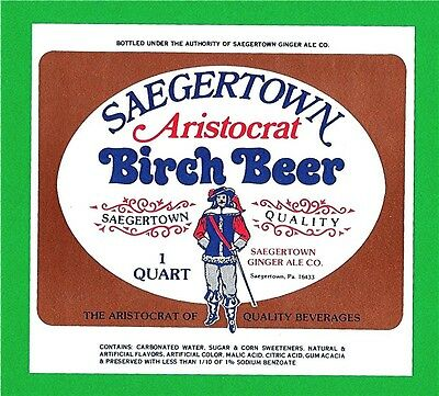 Saegertown Aristocrat Birch Beer Soda Bottle Label Pa