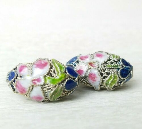 Chinese Enamel Pink Flower Blue Green Beads Nicely Made Mesh Oval 21x12mm2Pcs
