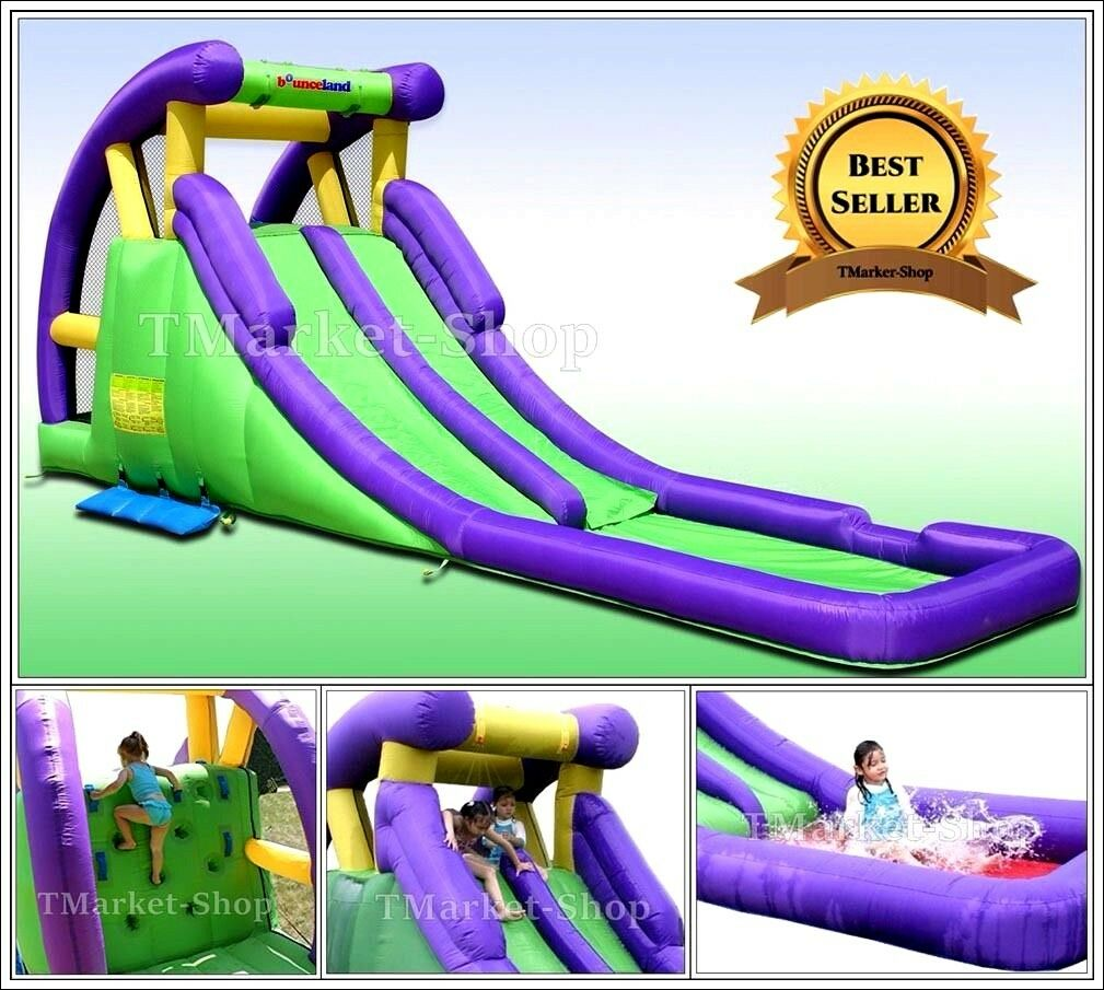 Inflatable Slide Blower: Double Water Slide Pool Bounce House Inflatable Bouncer