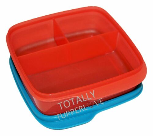 Tupperware Lunch-It Divided Bento Lunch Box Hot Pepper Red & Peacock Blue Keeper