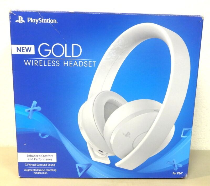 Sony 7.1 virtual surround sound Gold Wireless Stereo PS4/PC Gaming Headset,White