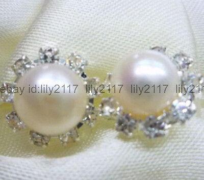 Charming 8-9mm White Akoya Cultured Pearl Crystal Silver Stud Earrings AA Crystal Cultured Pearl Earrings