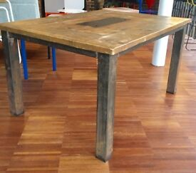 Stylish industrial antique oak table with central Storage