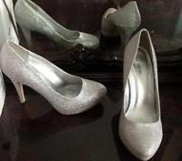 Silver glitter shoes -dressy or wedding