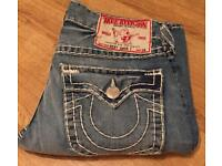 Brand new authentic men's True Religion jeans. Waist 32. Ricky Super T style. Thick stitch. RRP £380