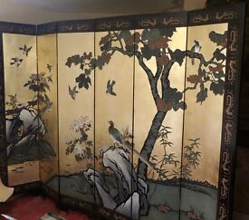 JAPANESE SIX PANEL GOLD/BIRD ROOM DIVIDER