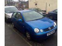 Volkswagen Polo 2003 1.4 FSI for sale. Metallic blue, 3 dr. Mileage 75000. Good condition. £1695 ONO