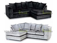 **UP TO 5 YEAR WARRANTY!!** In 7 Colours! Arabian Crushed Velvet Corner Suite or 3 and 2 Set