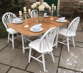 Vintage Shabby Chic Drop Leaf Dining Table & 4 Chairs