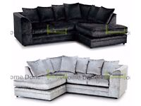 **UP TO 5 YEAR WARRANTY!!** Arabian Premium Crushed Velvet Corner Suite or 3 and 2 Sofa Set