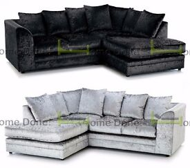 **UP TO 5 YEAR WARRANTY!!** Arabian Crushed Velvet Black or Silver Corner Suite or 3 and 2 Set
