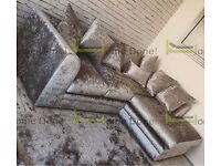 **UP TO 5 YEAR WARRANTY!!** Arabian Black or Silver Crushed Velvet Corner or 3 and 2 Sofa Set