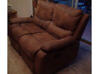 Harveys Bronc Express Tan/Choc Faux Suede 2 Seater Sofa with 2 Manual Recliners SA48 8JZ FIT IN CAR