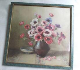 Vintage 1950's shabby chic flower print in original frame