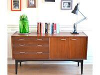 Stylish vintage 'Uniflex' Danish style walnut sideboard. Delivery. Modern / Midcentury.