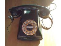 Dark Green Retro push button Telephone 70/80s