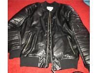 Zara boys black leather jacket