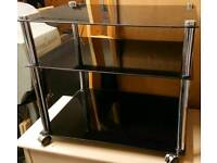 Black glass shelved unit