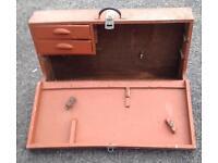 Old painted wood toolbox