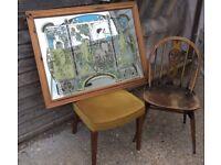 Rare 1970's Art Nouveau Large 'Mucha' Four Seasons Pine Mirror ~ Retro Antique (Ladderax staples)