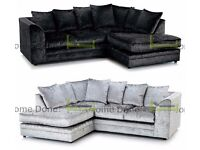 **UP TO 5 YEAR WARRANTY!!** Arabian Crushed Velvet Corner Suite or 3 and 2 Set -SAME DAY DELIVERY