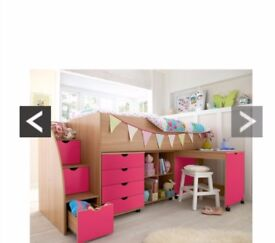 Girls' Pink Cabin Bed with extra storage